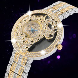 Fashion Leopard Watches Australia - Luxurious Diamond-encrusted Quartz Analog Watch for Women High Quality Alloy Strap Watches for Ladie Unique Leopard Pattern Dial Wristwatch