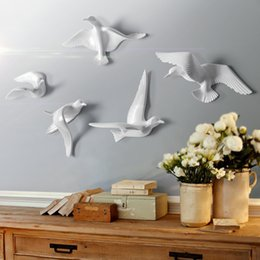 Europeu Resina Birds Tapeçaria Pombo Artesanato Decoração Início Sala Sofa TV Background 3D Wall Sticker Mural ornamento da arte em Promoção