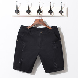 white jeans branded NZ - Brand Summer Black White Men Jeans Shorts Cotton Ripped Denim Short Pants Quality Solid Slim Fashion Style Bermuda Shorts Male