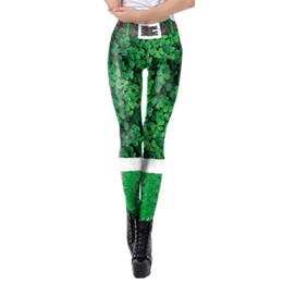 Womens Tight Yoga Pants UK - Womens St. Patrick's Day Clover Print Tighten High Waist Pencil Pants Trousers High Elastic Slim Leggings Tights Yoga Pants