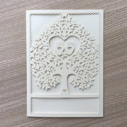 $enCountryForm.capitalKeyWord Australia - 15PCS  lot White Owl In Love Pattern Hollow Laser Cut Wedding Invitations Cards Marriage Honey Birthday Grand Events Graduation Ceremony