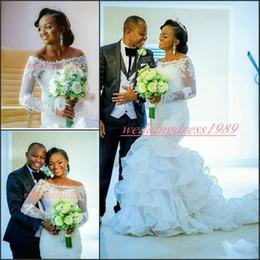 Nude scoop Neck dress online shopping - Vintage Nigerian Ruffle Organza Mermaid Wedding Dresses Long Sleeve Applique Lace Tiered Bridal Gown Plus Size Bride Dress Vestido de novia