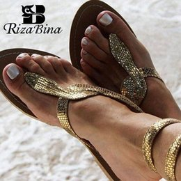 gold bling sandals Australia - RizaBina Women Flats Sandals 2019 New Summer Snake Ankle Strap Gladiator Sandals Bling Gold Beach Flat Shoes Women Size 35-43 CY200518