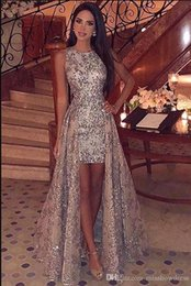high neck sparkle formal dress 2021 - 2019 New Crew Neck Sequins High Low Prom Dresses Sparkling Sleeveless Lace Sweep Train Formal Party Evening Gowns BC1955