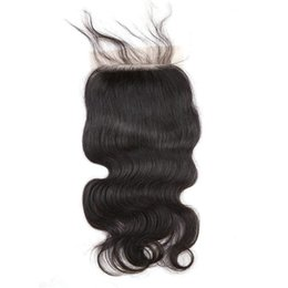 human hair weave part silk closures UK - Silk Base Lace Closures Body Wave Brazilian Virgin Unprocessed Human Hair Weaves Closure with Baby Hair Pieces Natural Color Bellahair