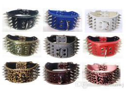 3 inch wide leather spiked studded dog collars leather pet collars chromed spikes for PitBull Mastiff large and medium breeds free shipping