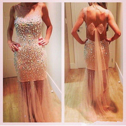$enCountryForm.capitalKeyWord Australia - Rhinestones Beaded Sheath Prom Dresses With See Through Tulle Crew Neck Sexy Backless Bridal Party Red Carpet Evening Gowns B113