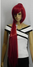ponytails red long UK - Red long straight cosplay wig + two ponytails