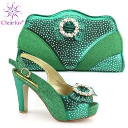 $enCountryForm.capitalKeyWord Australia - Latest Design Italian Ladies Shoes and Bag To Match Set Decorated with Rhinestone Nigerian Wedding Shoes and Bag Set Party Shoe
