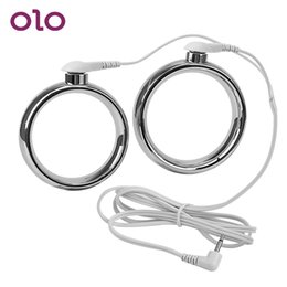 $enCountryForm.capitalKeyWord Australia - Ikoky Electric Shock Penis Rings Stainless Steel Cock Rings Delay Ejaculation Sex Toys For Men Male Chastity Adult Games SH190802