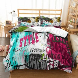 $enCountryForm.capitalKeyWord Australia - Retro Style Microfiber Duvet Cover Set Letter Printing Girls Boys Bed Linen Set Twin Full Queen Size Bedclothes Home Textiles
