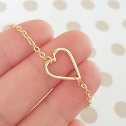Heart Shaped Chains For Couples Australia - 10 New Tiny Line simple lovers Hollow Heart shaped pendant bracelet Simple Wire Wrapped Love Heart bracelet for Lovers Couples jewelry