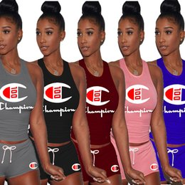Hot girls sHort tank online shopping - Champion Brand women clothing piece set Tracksuit woman designer outfits crop top Tank Shorts leggings Summer girls Sportswear hot C5701