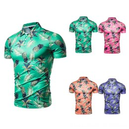 long sleeved polos UK - Summer Fashion New Style Multi-color Hot Selling Pineapple Men's Tees & Polos Men's Clothing Printed Short-sleeved Polo Shirt Pl94