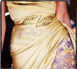 $enCountryForm.capitalKeyWord Canada - Wholesale-Stylish Fashion Women Trendy Belt Gold Metal Leaves Alloy Elastic Cummerbund Waist Leaf Belt Straps