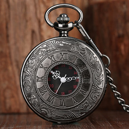 black gift tags Canada - Antique Steampunk Black Hollow Out Case Design Quartz Pocket Watch Men Women Analog Display Watches Necklace Chain Gift