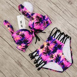 High Waist Bikini Swimwear Australia - Sexy Bandage Swimsuit High Waist Bikinis Women 2018 Palm Print Push Up Swimwear Female Beachwear Bathing Suit Maillot De Bain Y19052702