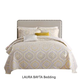 bedsheets bedding Australia - Yellow Embroidery Quilts Bedspread King Size Cotton Beddingset Europe American BedCover Quilted BedSheets Quilting Quilt Bed Mattress Topper