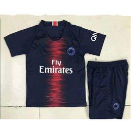 c4b43b096206 PSG soccer jerseys Kids kit paris saint 18 19 germain MBAPPE 2018 2019  CAVANI football shirt uniforms VERRATTI DI MARIA DRAXLER child boys