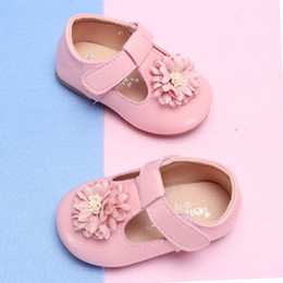 Flower Shoes Kids NZ - COZULMA Baby Girl Flower Casual Shoes Toddler Kids Party Anti-slip T-Strap Flat Shoes Baby Spring New Enfants Size 15-25