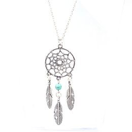 $enCountryForm.capitalKeyWord Australia - Ethnic Style Dreamcatcher Pendant Mandala Lotus Necklace Yoga feather Stone Pendant Jewelry 2019 Dream Catcher Chain Necklace