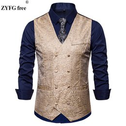 $enCountryForm.capitalKeyWord Australia - Plus size Fashion men suit vest business casual style Double-breasted design vest Cashew flowers pattern sleeveless garmen