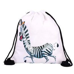 6cb0cc7eb 39x30cm Funny Harajuku Cute Cloth Drawstring Bags Canvas Kawaii Storage Bags  Backpack 3d Print Womens Gift Bag Zebra White Color