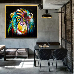 Discount abstract art paintings for kids Thinking Monkey Wall Art Canvas Abstract Animals Pop Art Canvas Paintings Wall Decor Pictures For Kids Room 190928