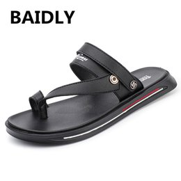 fashionable male shoes 2019 - Leather Sandals Men's Summer Slippers Fashionable Fresh Non-slip Hombre Men Sandals Male Water Shoes cheap fashiona