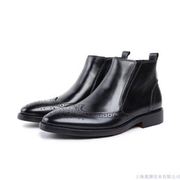 shoes bulk UK - Help Pure Ventilation Comfortable Skin Single Cloth Locke Male High Enchanting2019 Shoe Bulk Cowhide Make Business Affairs Boots Wind