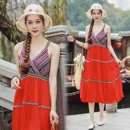 $enCountryForm.capitalKeyWord NZ - Summer beautiful pretty woman spaghtti dress cotton fabric girls dress adjustable strappy dress retro style design
