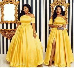 Yellow Evening Party Short Dresses NZ - Elegant Yellow Evening Dresses Off the Shoulder Satin 2019 Split Prom Dress Short Sleeve Plus Size Party Gowns