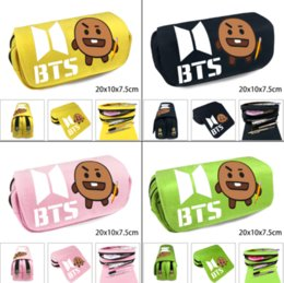 Stationery Australia - Kpop BTS Bangtan Boys BT21 Shooky Double Layer Canvas Pencil Case Zipper Pen Bag Cosplay Makeup Bag Cosmetic Stationery Box