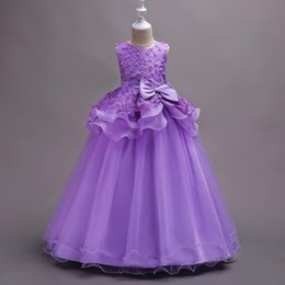 evening straight gown Australia - Girls Dress Flowers Appliques Formal Baby Wedding Dresses Fancy Children Ball Gown Kids Evening Party Clothes 4-13T
