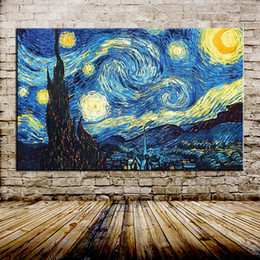 $enCountryForm.capitalKeyWord Australia - Mintura Art Large Starry Night Of Vincent van Gogh Hand made Reproduction Oil Painting On Canvas Wall Art Picture For Living Room Home Decor