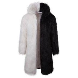 m genuine leather UK - Men Fur Coat Hooded Winter Faux Fur Outwear Coat Men Punk Parka Jackets Long Leather Overcoats Genuine Fur Brand Clothing J1811159