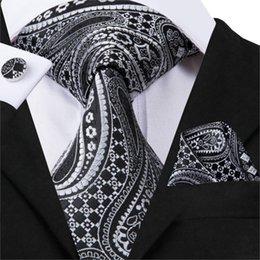 Woven Silk Ties Cufflinks Australia - Hi-Tie Print Neckties For Men Silk Jacquard Woven Ties Hanky Cufflinks Set Black New Fashion Style Neck Wear Gravata C-3080