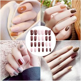 $enCountryForm.capitalKeyWord Australia - 24pcs Different Sizes Fales Nails Patch Finished Solid Color Jumping Gray Bean Paste Pumpkin Colors Nail Clip For Girls Beauty