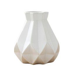 $enCountryForm.capitalKeyWord Australia - Europe Brief Matt Diamond Porcelain Vase Modern Fashion Ceramic Flower Vase Room Study Hallway Home Wedding Decoration White