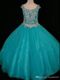 AquA tulle online shopping - 2019 Sparkly Aqua Hot Pink Crystal Toddler Girls Pageant Dresses Ball Gown Off the shoulder With Sleeves tulle Long Flower Girls dress