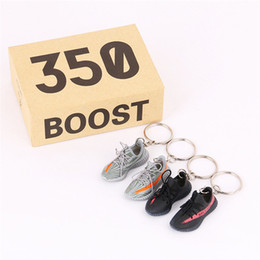 $enCountryForm.capitalKeyWord Australia - 3D Sneaker Keychains a Pair Sports Shoes With Box Mini Right and Left Feet Key Chains For Bag Wallet Cell Phone Straps Backpack