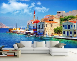 Wholesale greeks tv resale online - 3d room wallpaper on a wall custom photo mural Greek Aegean scenery TV background wall decorative painting wallpaper for walls d