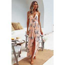 floral maxi evening dresses 2019 - Women Print Halte Boho Floral Maxi Deep V neck Long Dress Summer Evening Party Beach Slit Spilt Sundress Dresses cheap f