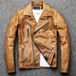 $enCountryForm.capitalKeyWord Australia - 2019 New Fashion Oil Wax Cowhide Locomotive Genuine Leather Jacket Men Vintage Slim Fit Turn-Down Collar Motorcycle Leather Coat