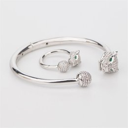$enCountryForm.capitalKeyWord NZ - New Luxury Classic Bracelets Rings Hot Fashion Designer Animals Rings Bangles Sets Gold Silver Rose Couple Wedding Jewelry Set Lovers Gifts