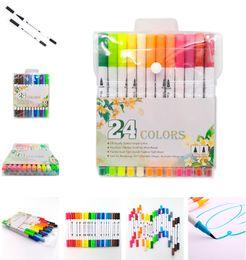 $enCountryForm.capitalKeyWord Australia - 12 24 36 48PCS Colors FineLiner Dual Tip Brush Pens Drawing Painting Watercolor Art Marker Pens School Supplies Gift Marker Pen