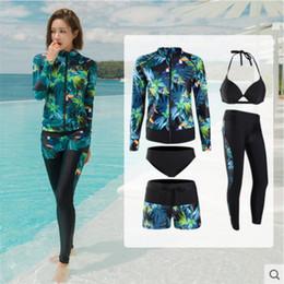 $enCountryForm.capitalKeyWord Australia - Korean style 5 pieces surf swimsuit for women 2019 UV protection swimwear bikini+zip shirt+pants+shorts ladies Snorkeling suit