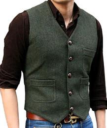 $enCountryForm.capitalKeyWord NZ - Men's Suit Vest V Neck Wool Herringbone Tweed Casual Waistcoat Formal Business Vest Groomman For Wedding Green Black Brown