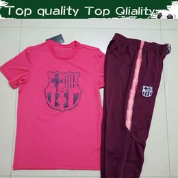 $enCountryForm.capitalKeyWord Australia - 2019 Top Quality Soccer Tees With Trousers New MESSI SUAREZ COUTINHO Sport Football Suits Rose Tshirt Wine Red Pants For Men Size S-3XL