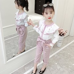 girls red coat set Canada - 2019 Girls Clothes Suit Elegant O-Neck Clothing Set For Teens Spring Ruffles Children's Clothes 6 8 12 Years Costume For GirlsMX190916